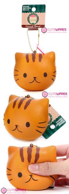Cafe Sakura Kawaii Animal Bread Orange Cat Head Mascot Soft Squishy Charms - Tonkichi #cat