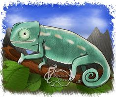 Baby Veiled Chameleon Daily Creature by NadilynBeatosArt on Etsy, $10.00