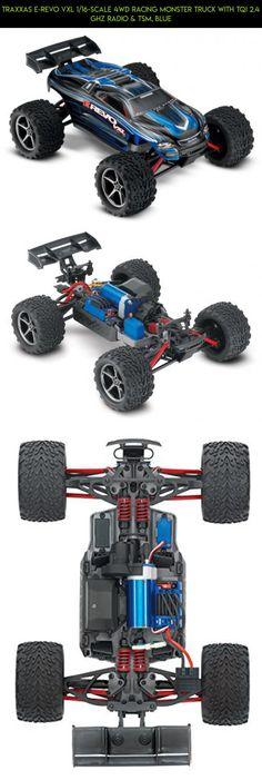 Traxxas E-Revo VXL 1/16-Scale 4WD Racing Monster Truck with TQi 2.4 GHz Radio & TSM, Blue #parts #shopping #plans #drone #traxxas #fpv #revo #products #gadgets #mini #tech #camera #technology #e #racing #kit