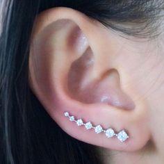 Set of Swarovski Crystal Ear Pins Silver 7 Stones Hooks Earrings Vine Crawlers #Unbranded #Pin