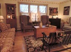 Primitive Living Room, Primitive Homes, Primitive Decor, Primitive Country, Prim Decor, Primitive Kitchen, Primitive Curtains, Primitive Bathrooms, Primitive Painting