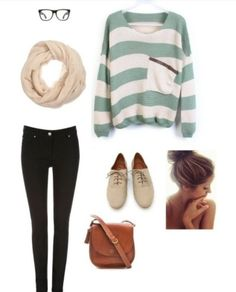 Fall, oversized, sweater, glasses, skinny, jeans, boots, Autumn, school, hipster, outfit, ideas, scarf