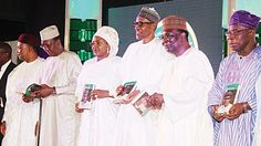 Buhari took over Aso Villa like a combatant says Gowon   Niger Republic President Issifou Mahamadou (left); his Chadian counterpart Idriss Deby; Nigerian First Lady Hajia Aisha Buhari; President Muhammadu Buhari; former Head of State Gen Yakubu Gowon and ex-President Olusegun Obasanjo at the presentation of the book President Muhammadu Buhari: The Challenges of Leadership in Nigeria at the International Conference Centre Abuja yesterday. PHOTO: PHILIP OJISUA   Eminent Nigerians eulogise…