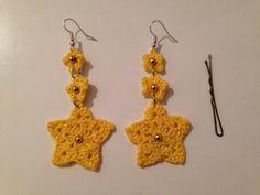 Orecchini stelline all'uncinetto con perline #crochet #earrings #beads #diy