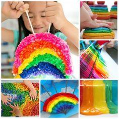 Kids Crafts Rainbow Activities - Sensory Bin Ideas for Kids Rainbow Crafts Preschool, Rainbow Activities, Educational Activities For Kids, Science For Kids, Kindergarten Activities, Art For Kids, Preschool Activities, Spring Crafts For Kids, Summer Crafts