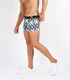 Boxer Briefs - Black Diamond Print  95% Modal, 5% Lycra. To insure the Mode range boxer retains its shape wash after wash our designers use only Dupont Lycra so it will continue to hug and move with your body time and time again. Blue ultra thin elastic waistband with white 'M' series logo.