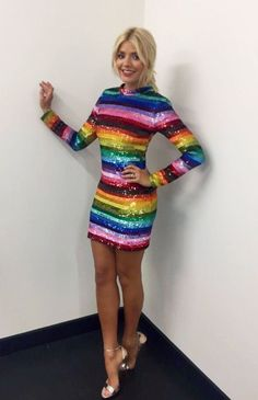 Holly Willoughby looks incredible in a new snap of her amazing rainbow dress Rainbow Outfit, Rainbow Fashion, Rainbow Dresses, Rainbow Clothes, Instagram Outfits, Instagram Snap, Holly Willoughby Legs, Holly Willoughby Bikini, Holly Willoughby Outfits