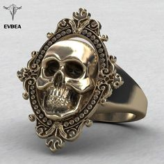 EVBEA® Copper Skull Rings Gothic Jewelry Brassring Skull Face with Vintage Frames Engraved Big Class Rings Skull Jewelry, Gothic Jewelry, Skull Rings, Jewelry Rings, Accessories Jewellery, Skull Bracelet, Jewellery Box, Gothic Engagement Ring, Designer Engagement Rings