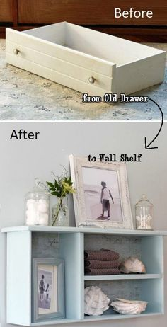 Recycle Old Drawer as Mounted Wall Shelf - 19 Recycled Projects To Customize Your Small Bathroom #wallmountedbathroomfurnitureideas