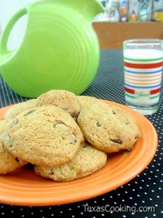 Sour Cream Chocolate Chip Cookies served on Fiesta® Dinnerware plate | Texas Cooking