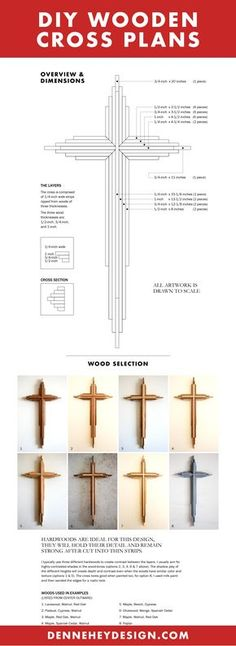Here's a preview of my DIY Layered Wooden Cross plans. They tell you everything you need to know to build these beautiful crosses! More at denneheydesign.com