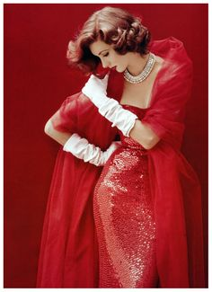 Suzy Parker in red sequined dress by Norman Norell, photo by Milton Greene, September 1952   More fashion