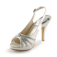 Satin Stiletto Heel Peep Toe / Platform With Rhinestone Wedding / Party Evening Shoes (More Colors Available) - USD $ 59.99