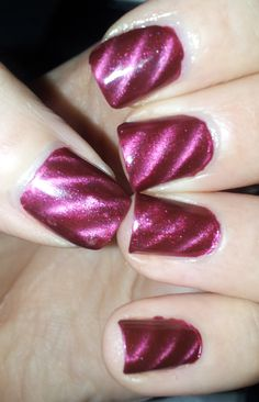 Dark Red Magnetic Nails