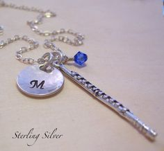 Personalized Flute Charm Necklace Hand by MadisonCraftStudio, $37.00