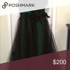 Prom dress Black and emerald green strapless ball gown with jewels and shimmering feathers on bodice . Black tulle covers the emerald satin ballgown skirt. Built in bra. Worn once to prom. Dresses Maxi