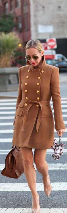 Head to Toe - Brooklyn Blonde. I adore this military style camel coat with the double row of brass buttons Mode Style, Style Me, Street Chic, Street Style, Brooklyn Blonde, Look Fashion, Womens Fashion, High Fashion, Fashion Design