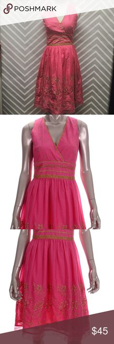 Pink and Gold Formal Express Dress Be the bell of the ball in this adorable vibrant pink and gold Express formal dress. Like-new condition. Express Dresses Midi