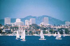 Newport Beach with Fashion Island and the Santa Ana Mountains behind