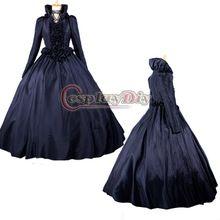 Envío gratis por encargo vestido de gótico elegante del vestido de bola w / Capa Traje Negro vestido victoriano(China (Mainland))