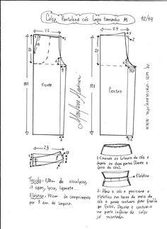 Esquema de modelagem de calça pantalona de cós largo tamanho M.
