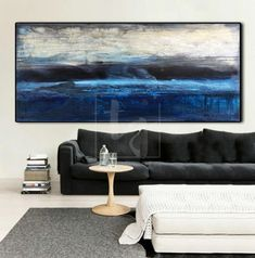 MORNING OCEAN This abstract painting is a representation of an ocean morning beginning. Sun has risen, the sky is filled with light. The ocean is starting to wake up. In this landscape abstraction, there is a dominance of the color blue which is visible in the sky as well as in the ocean. Also, the author used shades o Blue Abstract Painting, Acrylic Painting Canvas, Abstract Canvas, Abstract Paintings, Extra Large Wall Art, Large Art, Large Canvas, Cool Paintings, Contemporary Art