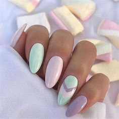 Easter Acrylic Nails which supremely stylish and fashionable - Hike n Dip - - Here are the best Easter Acrylic Nails for Browse through these Easter nail designs and make your stylish Easter nails spread charm & elegance. Mint Nail Art, Mint Nails, Gel Nails, Nail Polish, Coffin Nails, Chevron Nail Art, Manicures, Cute Acrylic Nails, Acrylic Nail Designs