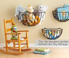Garden Baskets as Toy Storage. Great for stuffed animals, but how soon until it turns into a 'toss the animal in the basket' game? Would drywall come off with it if it were to detach from the wall? Hmmmm.