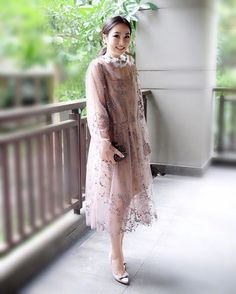 - is a vision to behold in this Saptodjojokartiko sheer embroidered tulle dress at an recent event Mom Dress, Fancy Dress, Dress Brokat, Kebaya Brokat, Dress Outfits, Fashion Dresses, Korean Dress, Dress Hairstyles, Muslim Fashion