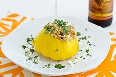 A healthy vegetarian stuffed pattypan squash recipe with protein-packed quinoa, fresh corn, queso fresco, and smoky chipotle peppers.