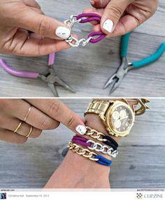 Wow! Mirá que fácil es hacer esta pulsera! Super copada :O  Solo tenes que usar un pedacito de cadena y una gomita de pelo. Re-Original :D