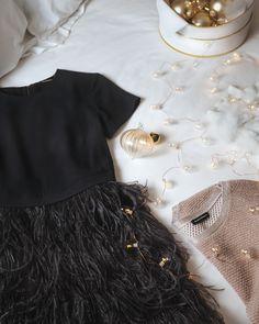 Club Monaco Brionia Feather Dress and Yoanna Sweater