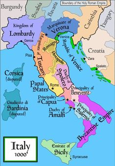 Italy around shortly after Otto I's reign. Otto I's expansion campaigns brought northern and central Italy into the Holy Roman Empire. Pisa, Verona, Alien Words, History Of Islam, Ancient History, Carinthia, Holy Roman Empire, Italy Map, World History