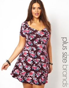 I think this is adorable and perfect with a little cardi or jacket over the top for the colder months.New Look Inspire Rose Print V Neck Cap Sleeve Dress