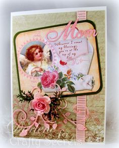 "Pretty Angel card by Darlene Pavlick using a sweet image from Crafty Secrets Little Blessings Scraps marked down to $1.95 for the 18"" long double sided card stock sheet."