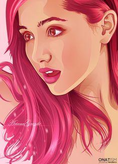 ariana grande, draw, and drawing image Vector Portrait, Digital Portrait, Portrait Art, Portrait Illustration, Digital Illustration, Fantasy Illustration, Human Vector, Arte Black, Ariana Grande Drawings