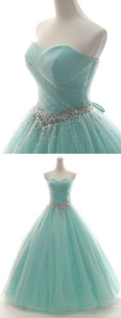 Elegant Sweetheart Neck Tulle Quinceanera Dresses, Lace up Ball Gown Prom Dress - Prom dresses Dresses Elegant, Pretty Prom Dresses, Homecoming Dresses, Cute Dresses, Beautiful Dresses, Elegant Gown, Dress Prom, Long Dresses, Wedding Dresses