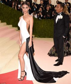 Hot stuff: Model-turned actress Emily Ratajkowski looked sensational in a slinky black and white number