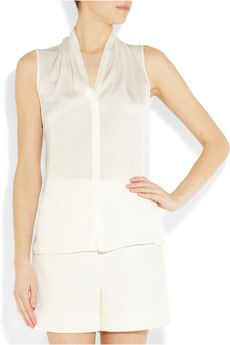 Theory  Deronisa gathered silk blouse  $200.  Seriously net-a-porter, white garments are invisible on your website.