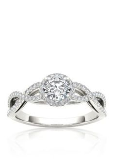 Belk  Co.  34 ct. t.w. Halo Diamond Engagement Ring in 14k White Gold