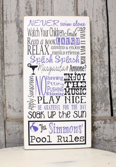 Personalized Family Swimming Pool Rules Sign on Wood with Distressed Look, Summertime Rules for Patio, Family Pool Rules, Personalized Sign by MadiKayDesigns on Etsy