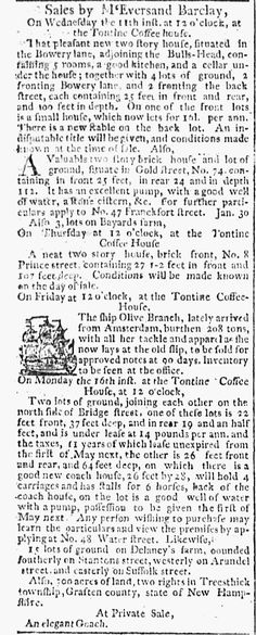 "1795. ""That new house adjoining the Bull's Head Tavern"" (54 Bowery). Daily Advertiser, published as The Daily Advertiser (New York, New York) • 02-11-1795"