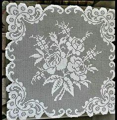 Crochet Placemats, Crochet Doily Patterns, Crochet Squares, Crochet Flowers, Crochet Stitches, Crochet Doilies, Filet Crochet Charts, Crochet Diagram, Crochet Bedspread