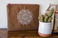 an Indian Themed Embroidery on a Cotton Pouch with by IAmCaitlyn