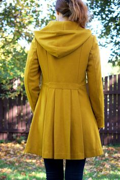 Mustard Yellow Autumn Winter Spring Coat 3suisses collection brand with hood M  #3suisses #BasicCoat #Casual