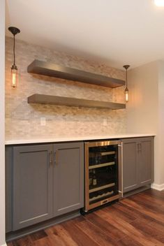 Basement kitchenettes are starting to gain popularity as more and more are turned into warm living areas. We are seeing many homeowners including a kitchenette or some type of beverage…More Basement Remodel Diy, Basement Makeover, Basement Renovations, Home Renovation, Home Remodeling, Kitchen Remodel, Remodeling Contractors, Modern Basement, Basement Bedrooms