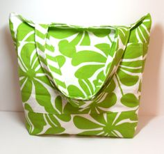 Extra Large Bag Reversible Beach Bag Green White by jayciMay