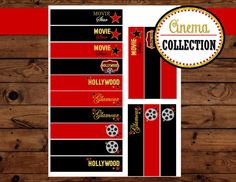 MOVIE PARTY - HOLLYWOOD Straw Flags