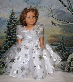 For Your Consideration: Snow Princess Dress Costume Halloween Cosplay Made to fit American Girl Dolls 18 and similar dolls Doll Clothes, Handmade in the USA by GJ INCLUDES: Lovely Snow Flake Dress a American Girl Doll Costumes, American Girl Clothes, American Dolls, Gown Pattern, Doll Dress Patterns, Snow Flake, Ag Doll Clothes, Gowns For Girls, Special Dresses