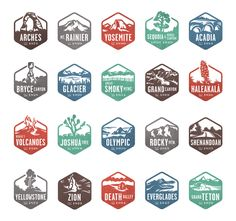 boston green logo inspiration // Valerie Jar: National Park Stamp Icons, for the National Parks by National Geographic app, an interactive guide to the U.'s national parks. You collect the stamp when you visit kinda cool in a geeky tourist way. Coperate Design, Design Logo, Badge Design, Icon Design, Identity Design, Patch Design, Brand Design, Brand Identity, Gig Poster